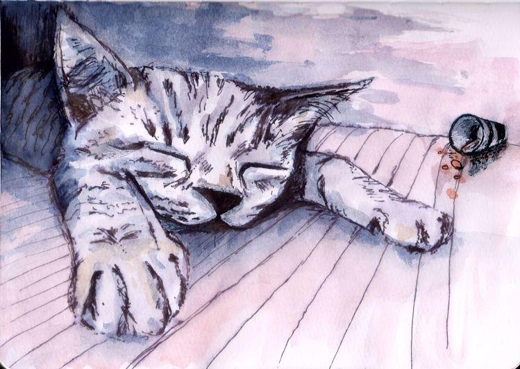Katze, Neues jahr, Tiere, Müde, Glas, Rutsch