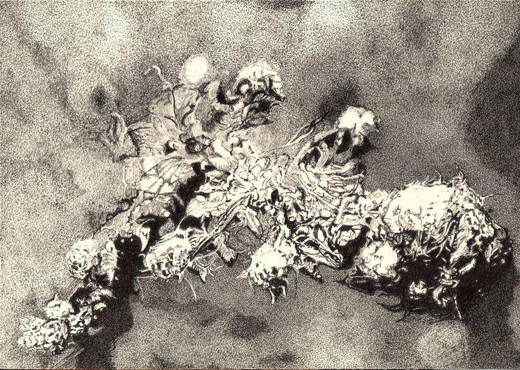 Schwarz weiß, Zeichnung, Tusche, Natur, Weiß, Grau