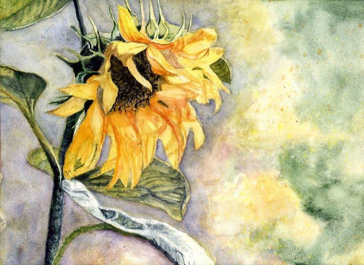 Sonne, Blumen, Herbst, Aquarell