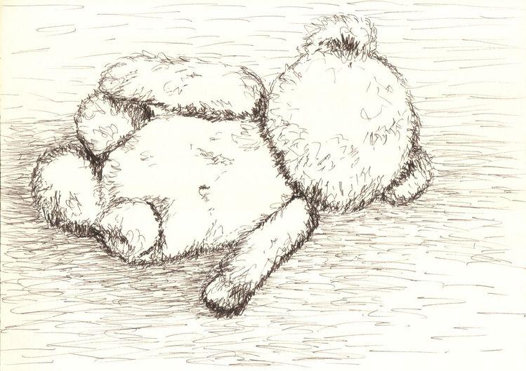 Kinder, Bär, Müde, Skizze, Erschöpft, Schlaf