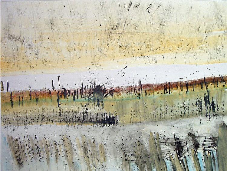 Tuschmalerei, Landschaft, Luft, Weite, Aquarell
