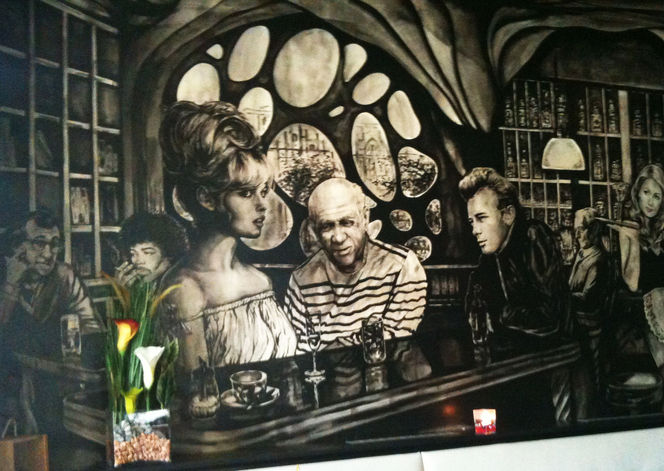 Bar nando, Wandmalerei, Schwarz weiß, Weiß, Malerei, Bar