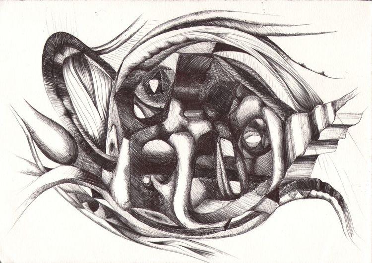 Grafik, Abstrakte zeichnung, Stillleben, Plastizität, Graphische arbeit, Kugelschreiber