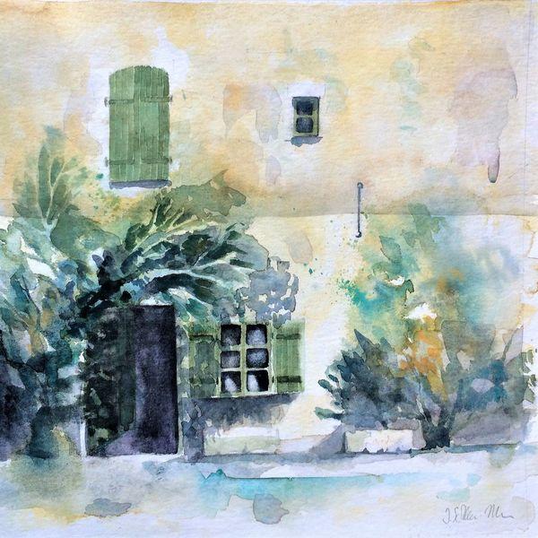 Nachmittag, Dorfstraße, Schatten, Bauernhaus frankreich aquarell, Stimmung, Sommer