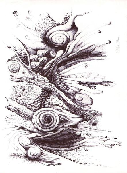 Struktur, Kugelschreiber, Surreal, Gestaltung, Dynamik, Kugelschreiberzeichnung