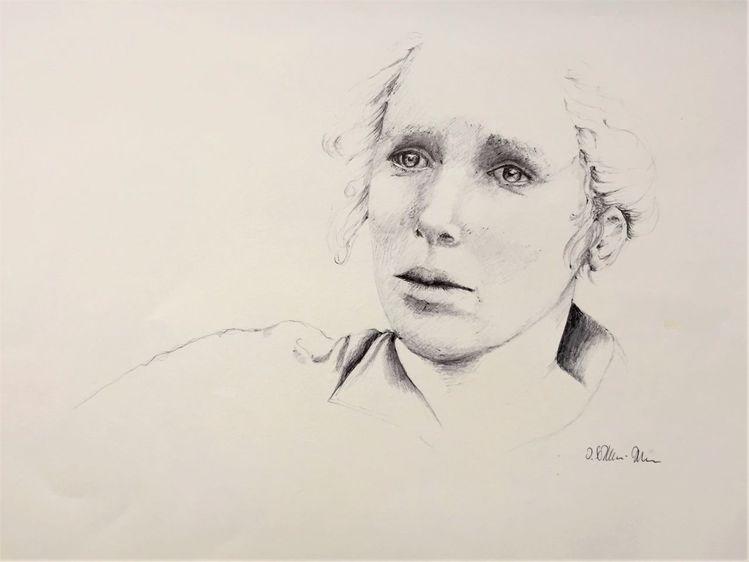 Kugelschreiberzeichnung, Ausdruck, Sensibilität, Gefühl, Menschen, Portrait