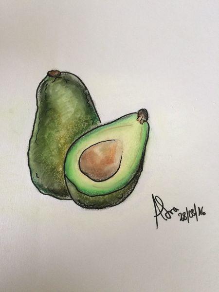 Bunt, Essen, Avocado, Pflanzen, Nahrung, Pastellmalerei