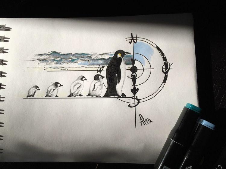 Copic marker, Pinguin, Meer, Südpol, Zeichnungen