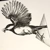 Tuschmalerei, Vogel, Kohlmeise, Geometrie