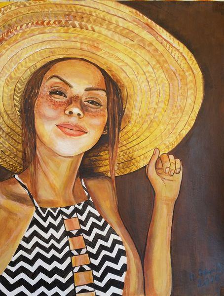 Acrylmalerei, Mädchen, Strohhut, Malerei