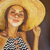Strohhut, Acrylmalerei, Mädchen, Malerei