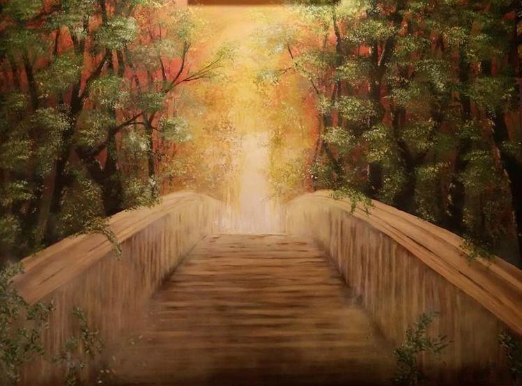 Relaxen, Acrylmalerei, Träumerei, Natur, Weg, Brücke