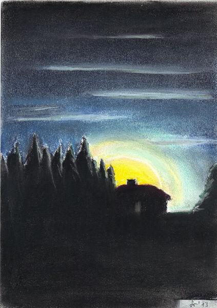 Mondaufgang, Wald, Wolken, Kreide, Schwarz, Blau