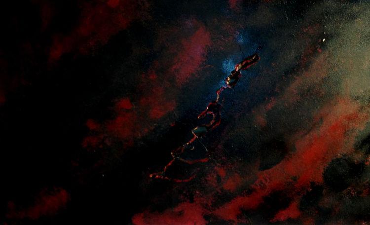 Holz, Riss, Rot schwarz, Dunkel, Mischtechnik, Acrylmalerei