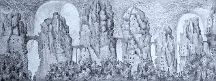 Wald, Stadt, Berge, Landschaft, Gebäude, Brücke