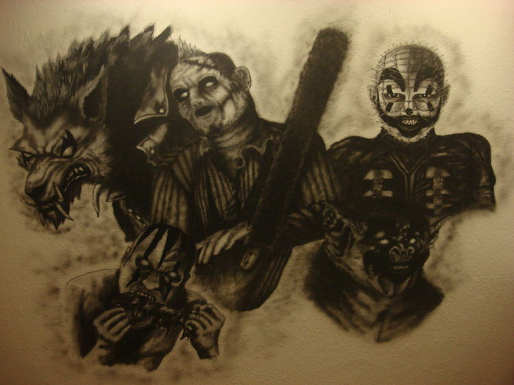 Airbrush, Horror, Clown, Mischtechnik, Fantasie