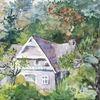Malerei, Haus, Wald