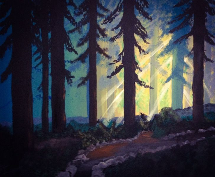 Acrylmalerei, Wald, Malerei, Licht, Weg