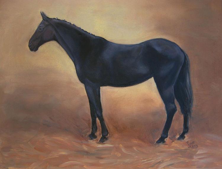 Tiere, Stute, Ölmalerei, Englische oelmalerei, Pferde, Malerei