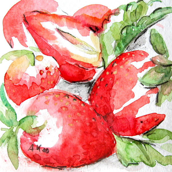 Rot, Erdbeeren, Obst, Aquarell, Tiere und natur