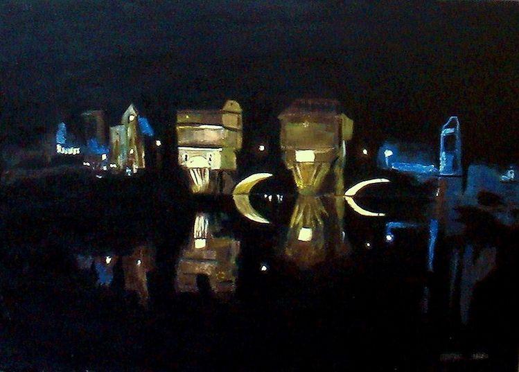 Nacht, Licht, Schwarz, Brücke, Haus, Malerei