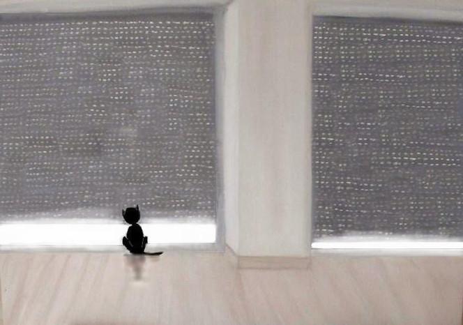 Fenster, Sehnsucht, Katze, Schwarz, Mischtechnik, Digital bearbeitet