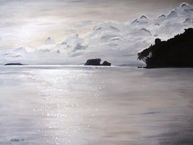 Wolken, Insel, Meer, Spiegelung, Malerei