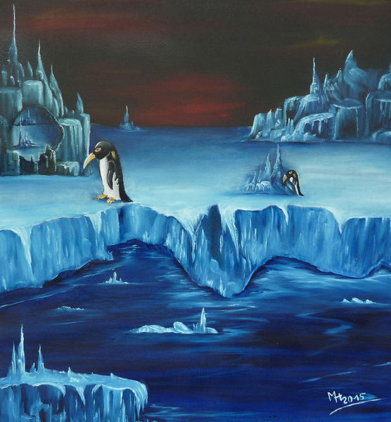 Pinguin, Eis, Malerei