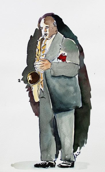 Musiker, Jazz, Saxofon, Aquarell