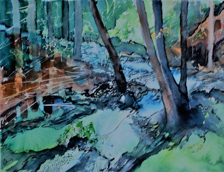 Riesengebirge, Wald, Baum, Aquarell