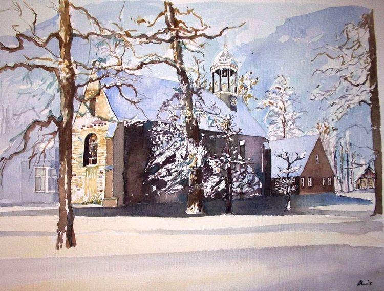 Holland, Twente, Kirche, Aquarellmalerei, Aquarell
