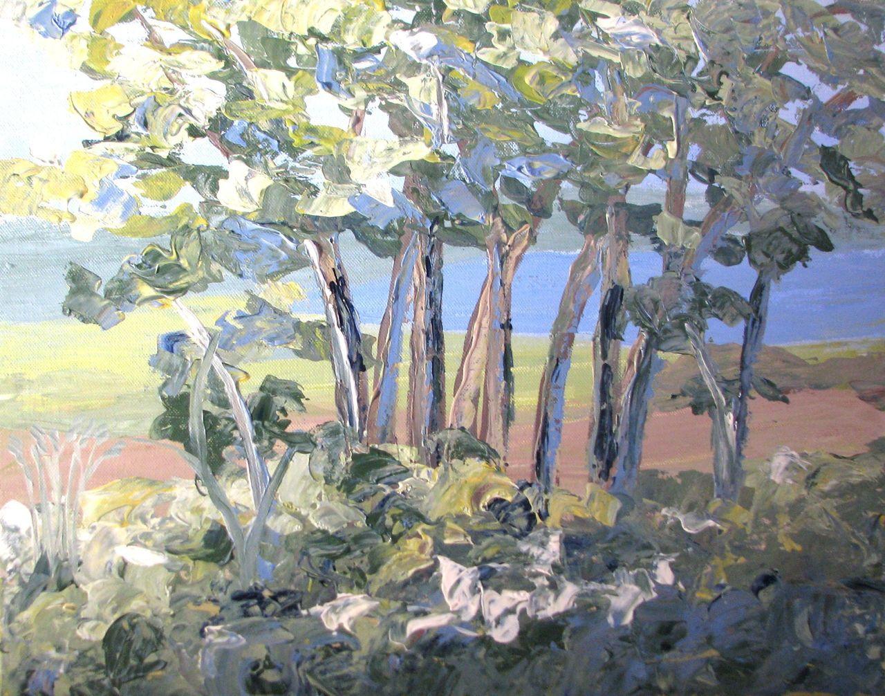 Landschaftsmalerei impressionismus  Baumgruppe - Baum, Impressionismus, Landschaftsmalerei, Wald von ...