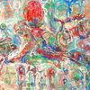 Grün, Menschen, Zeichnung, Pastellmalerei
