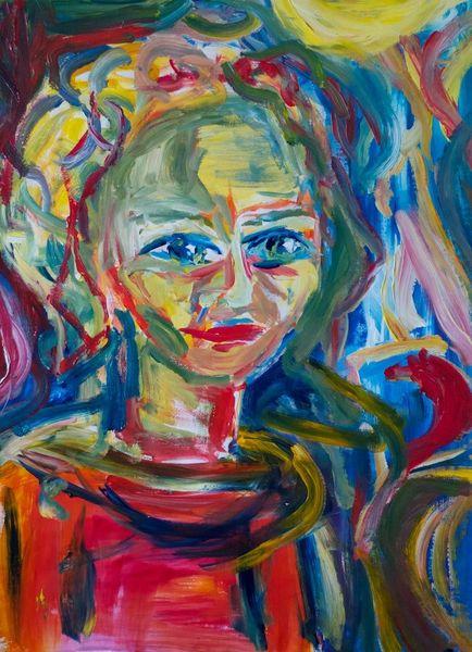 Bunt, Malerei, Farben, Portrait, Frau