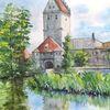 Mittelalter, Weiher, Spiegelung, Aquarell