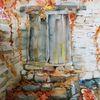 Tür, Ruine, Herbstlaub, Aquarell