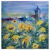 Sonnenblumen, Dinkelsbühl, Turm, Aquarell