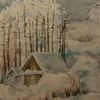 Winter, Blau, Aquarell, Winterlandschaft