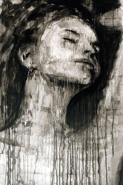 Portrait, Behind the window, Malerei,