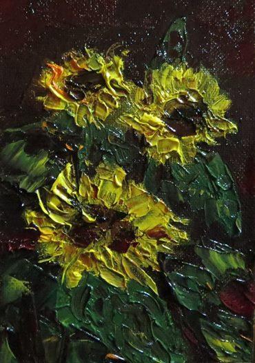 Sonnenblumen, Nordsee, Idylle, Übergang, Herbst, Ölmalerei
