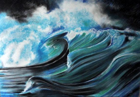 Wasser, Sturm, Welle, Pastellmalerei, Die perfekte welle, Zeichnungen