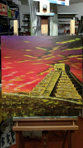 Mayatempel, Tempel, Maya, Gebäude, Architektur, Acrylmalerei
