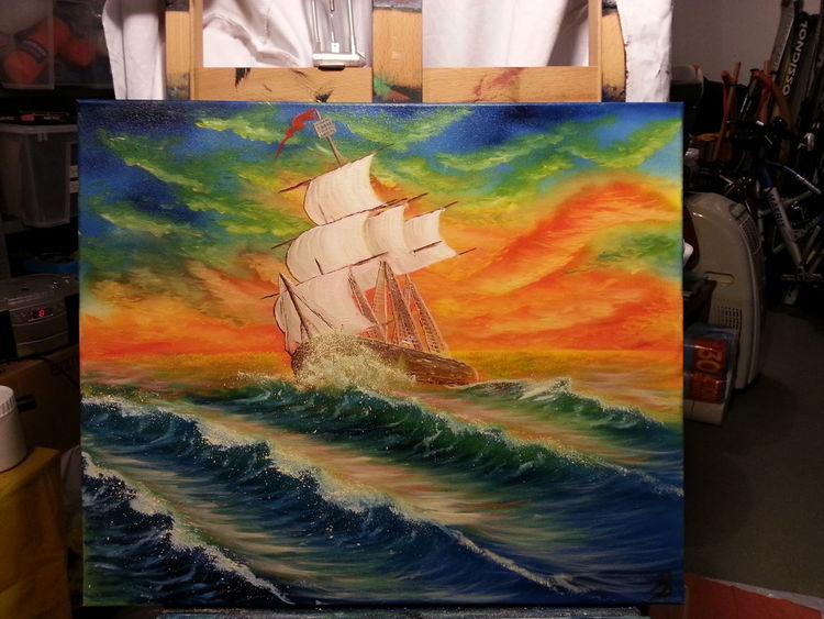 Atmosphäre, Welle, Ölmalerei, Schiff, Segelschiff, Abendstimmung