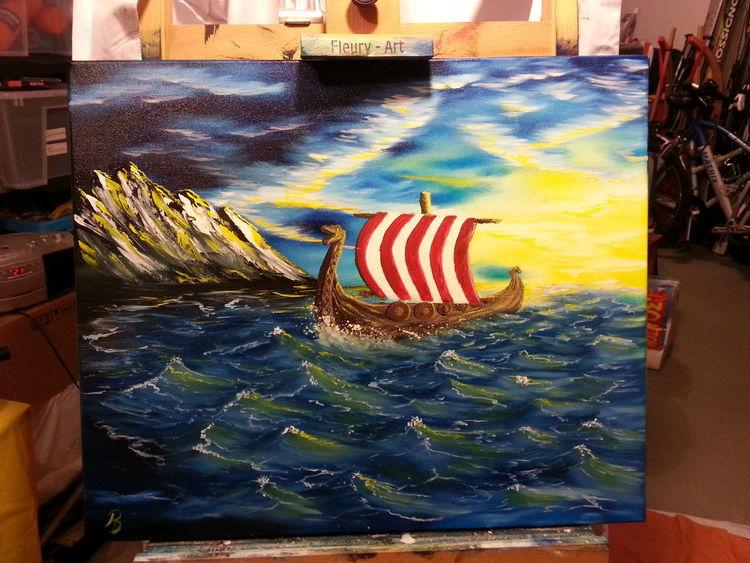 Berge, Ölmalerei, Schiff, Wiking, Sonnenuntergang, Wikingerschiff
