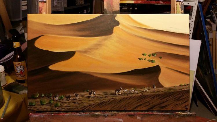 Landschaftsmalerei, Wüste, Ölmalerei, Namib, Anthilopen, Malerei