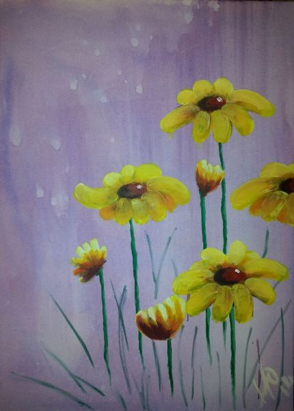 Acrylmalerei, Pflanzen, Gerbera, Blumen, Malerei