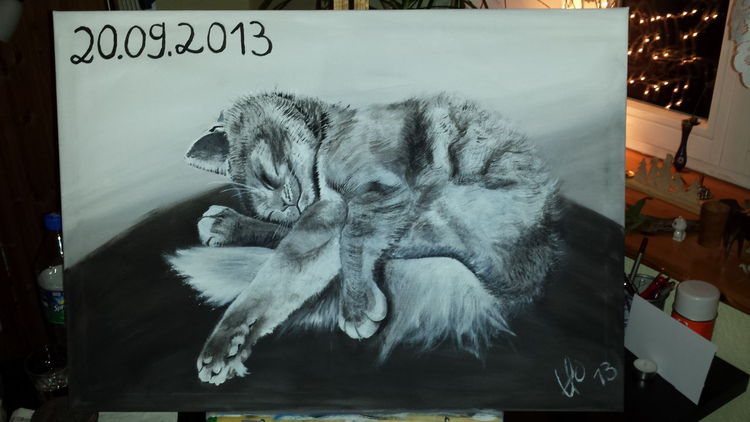 Tiere, Malerei, Katze, Acrylmalerei