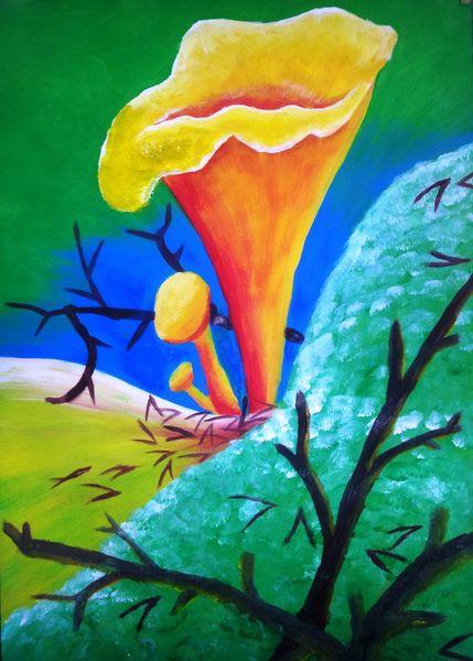 Malerei, Acrylmalerei, Pfifferling, Pilze