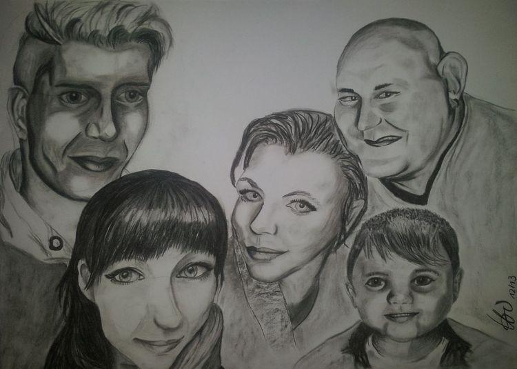 Kohlezeichnung, Portrait, Person, Zeichnung, Zeichnungen, Familie