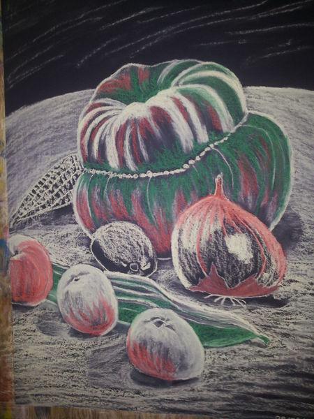 Pastellmalerei, Zeichnung, Stillleben, Kürbisse, Zeichnungen